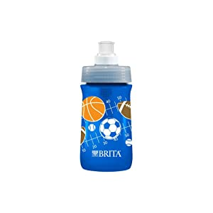 Brita Soft Squeeze Water Filter Bottle For Kids, Navy Blue Sports, 13 Ounce
