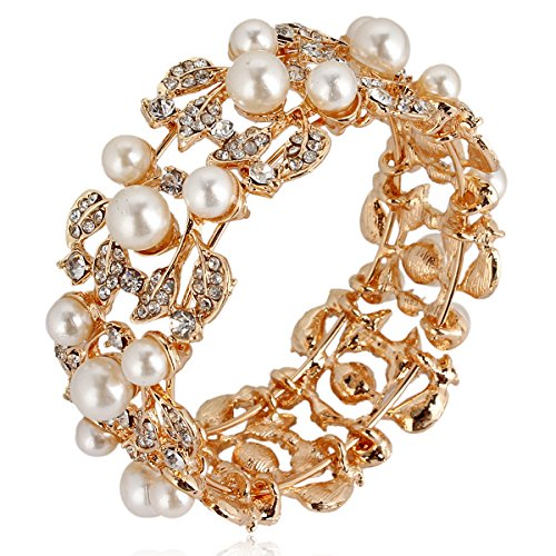 Pearl Mother Vintage Bracelet Of (EVER FAITH Flower Ivory Color Cream Simulated Pearl Bracelet Clear Austrian Crystal Gold-Tone)