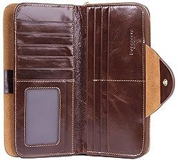 Borgasets Women\'s RFID Blocking Wallet Trifold Leather Clutch Zipper Ladies Purse Card Case Coffee