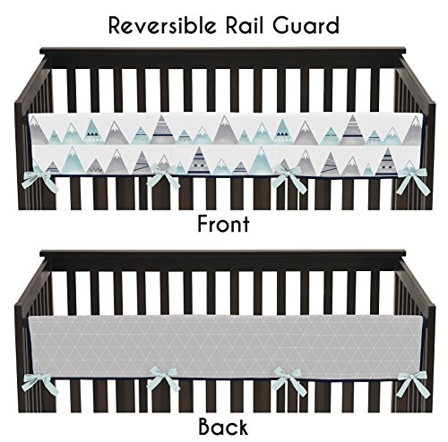 Sweet Jojo Designs Navy Blue, Aqua and Grey Aztec Long Front Crib Rail Guard Baby Teething Cover Protector Wrap for Mountains Collection