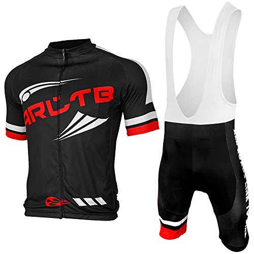 Arltb Cycling Jersey and Bib Shorts Set Bicycle Bike Short Sleeve Jersey Clothing Apparel Suit Padded Breathable Quick Dry Non Slip for Mountain Bike Road Bike MTB BMX Racing Outdoor