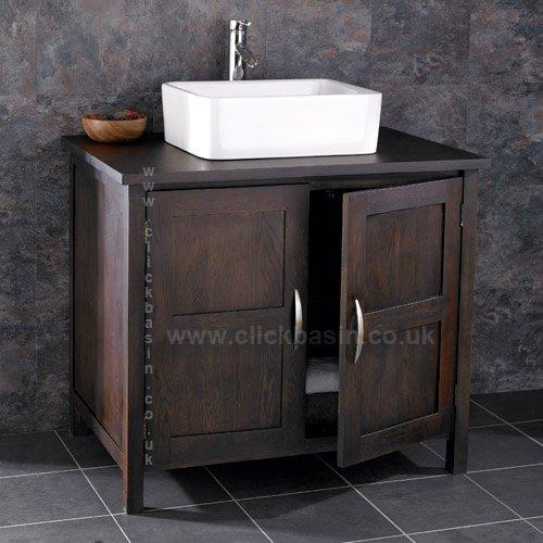 Clickbasin Ohio Solid Wenge Oak 90cm Wide Double Door Vanity Cabinet And Sink Set by (Wenge Vanity Set)