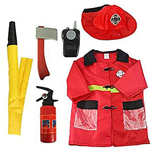 Fireman Costume Cosplay Dress up Firefighter Outfit Halloween Christmas Birthday Present for Children]()