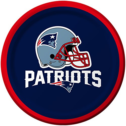 Creative Converting 8 Count New England Patriots Paper Dessert Plates (Patriots Party Supplies)