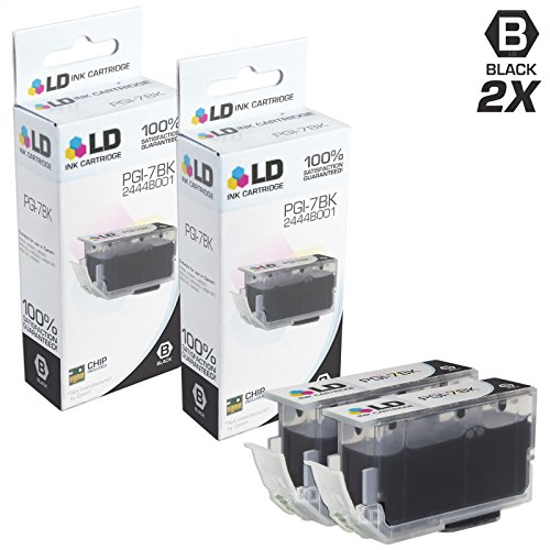 LD Compatible Ink Cartridge Replacement for Canon PGI-7Bk 2444B001 (Black, 2-Pack)