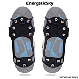 EnergeticSky Walk Traction Ice Cleat Spikes Crampons and Tread for Snow,Ice,Attaches Over Shoes/Boots for Everyday Safety in Winter,Outdoor,Slippery Terrain.