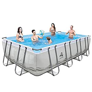 Jilong Marco de acero–Set de platillos de piscina con bomba de filtro y rectangular, cartucho, escalera, Suelo de/lona, 549x 305x 122cm, Mistral gris