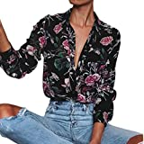 Gillberry Women Long Sleeve V Neck Floral Printed Casual Blouse Tops Shirt (M, Multicolor)