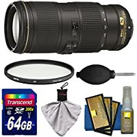 Nikon 70-200mm f/4G VR AF-S ED Nikkor-Zoom Lens with Filter + 64GB SD Card + Kit for D3200, D3300, D5300, D5500, D7100, D7200, D750, D810 Camera