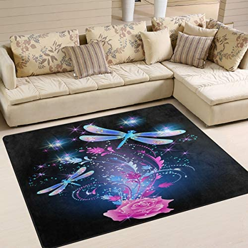 ALAZA Dragonfly Pink Shiny Rose Area Rug Rugs