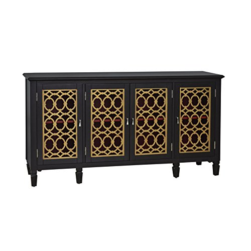 Sofaweb.com Hand Painted Distressed Black and Gold Finish Console (Hand Painted Console Cabinet)