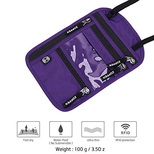 Zoppen RFID -Blocking Travel Passport holder Neck Stash Ultra Slim Wallet Purple by Zoppen (Image #3)