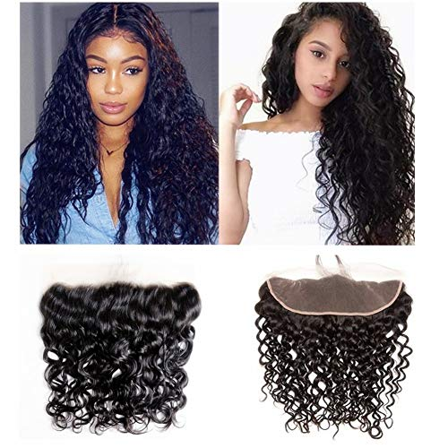 LOVBITE Water Wave Pre Plucked Lace Frontal Closure 13x4 Ear To Ear Lace Closure 14Inch Brazilian Water Wave Lace Frontal Free Part Natural Color 100% Unprocessed Real Human Hair (13x4 14Inch)