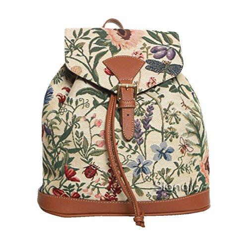 Signare Ladies Garden Flower Tapestry Flap Buckle Pull String Fashion Casual Rucksack Backpack with Sunflower Poppy Butterfly Dragonfly (RUCK-MGD)