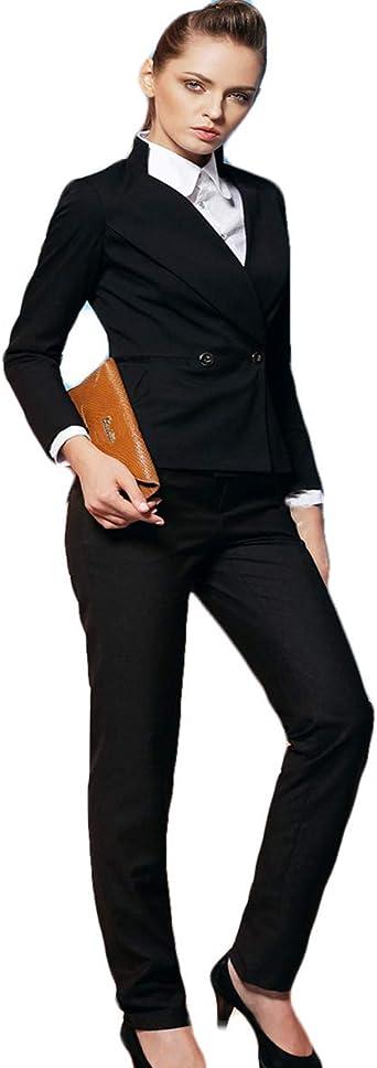 WZW Womens Black Business Suits Formal Office Suits Fashion Work Wear Pants Suit