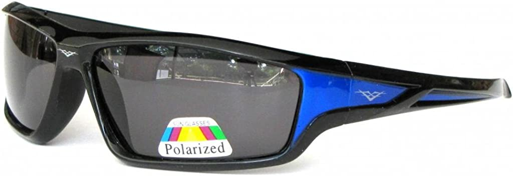 Black with Blue Frame Smoke Lens VertX Mens Polarized Sunglasses Sport Cycling Running Outdoor