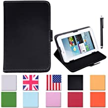 """HDE Universal 7"""" Leather Folio Tablet Case Cover w/ Matching Stylus Pen (Black)"""