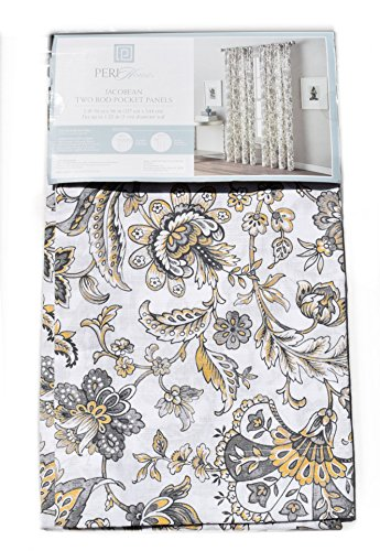 Peri Home Window Curtains Jacobean Exotic Garden Flowers 50-by-96-inch Set of 2 Cotton Window Curtains Rod Pocket Panels Grey Mustard Yellow Tan Gray Floral (Floral Tan Scroll)