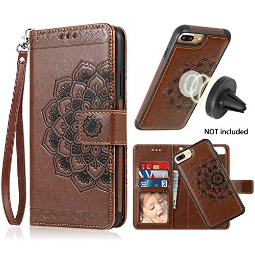 iPhone 8 Plus Case,iPhone 7 Plus Flip Embossed Leather Wallet Cases with Protective Detachable Slim Case Fit Car Mount,CASEOWL Mandala Flower Design with Card Slots, Strap for iPhone 7/8 Plus[Brown]