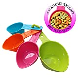 RYPET Dog Food Scoop Set of 4 - Plastic Measuring Cups for Dog, Cat and Bird Food (Random Color)