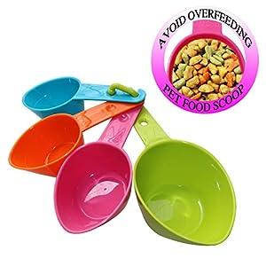 RYPET Pet Food Scoop – Measuring Cups Spoons Set Plastic Dog, Cat Bird Food (Random Color)