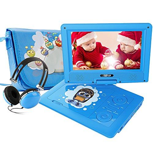 FUNAVO 9'' Tragbarer DVD-Player, Schwenkbaren Bildschirm, 4 Stunden Akku, Unterstützt SD-Karte und USB, mit Kopfhörer, Tragetasche, Auto-Ladegerät (Blau)