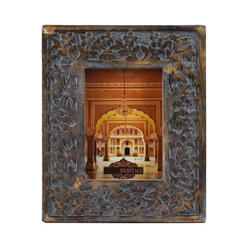 Finish Distress Wood (Indian Heritage Wooden Photo Frame 5x7 Mango Wood Carving Design with Grey Distress Finish)