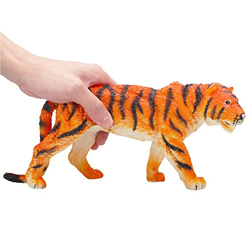 Toymany Large Size Tiger, 11.5'' High Realistic Plastic Animal Figure, Awesome Collection Decoration Learning Party Birthday Favors Gift For Boys Girls Children Toddler (Tiger Plastic)