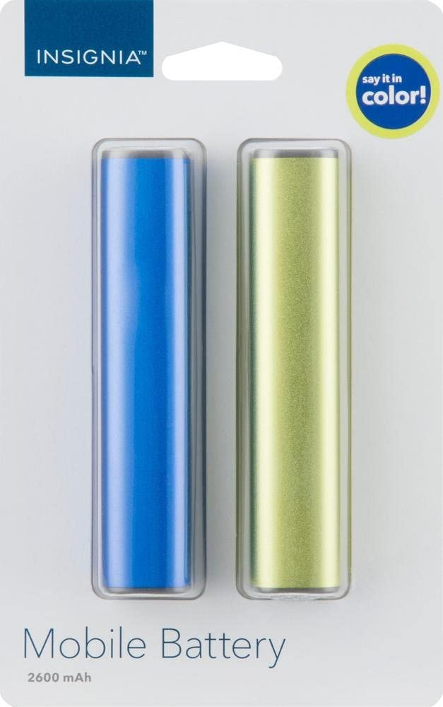 Insignia - 2600 mAh Portable Charger for Most USB-Enabled Devices (2-Pack) - Green/Royal Blue