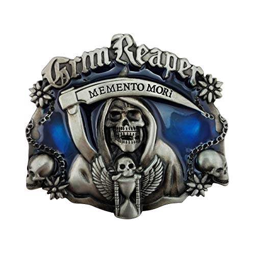 XGALA Cool Blue Grim Reaper Skull Skeleton Punisher Belt Buckle Cowboy Ghost Gothic