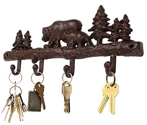 (Cast Iron Wilderness Wall Hook 4 Hooks for Coats Key Hooks Wall Decor )