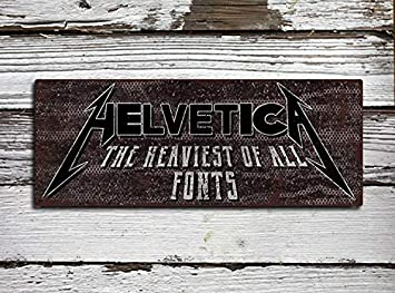 Helvetica Metallica Look - Cartel de Metal rústico: Amazon ...