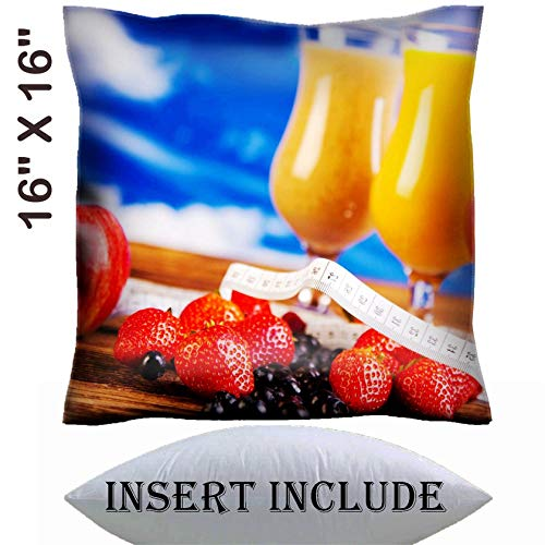 MSD 16x16 Throw Pillow Cover with Insert - Satin Polyester Pillow Case Decorative Euro Sham Cushion for Couch Bedroom Handmade Image ID 35419011 Protein Shakes Sport and Fitness