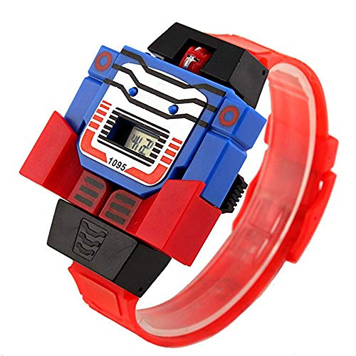 Kids Electronic Toys Digital Watch Creative Transformers for 3-8 Years Old Children Cartoon Watches Boys Birthday Gifts (Toys Boys Transformers)