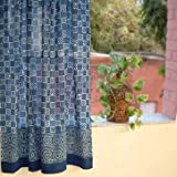 Saffron Marigold – Starry Nights – Navy Blue and White Batik Print Hand Printed – Sheer Cotton Voile Curtain Panel – Tab Top or Rod Pocket – (46″ x 63″) Review