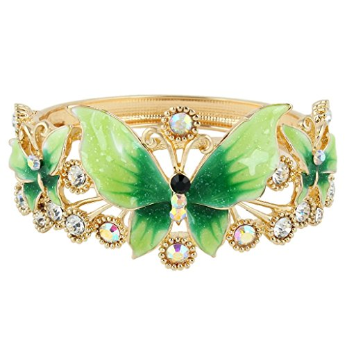 Crystal Bracelet Family - EVER FAITH Women's Austrian Crystal Green Enamel Butterfly Flower Bangle Bracelet Gold-Tone