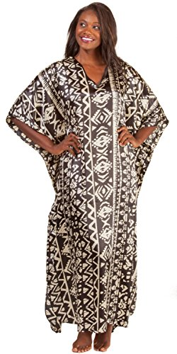Winlar Caftans for Women - Satin Charmeuse One Size Kaftan - Aztec Mural (One Size Fits Most, Black/Ivory)