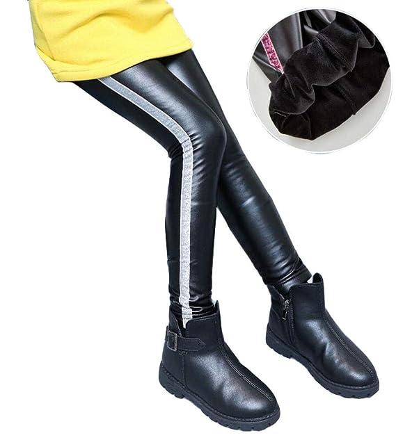 5e6eaf9386ca8 Enfant Fille Faux Cuir Leggings Pantalons Crayon Taille Elastique Skinny  Pants élastique Chaud épais Collant Fleece