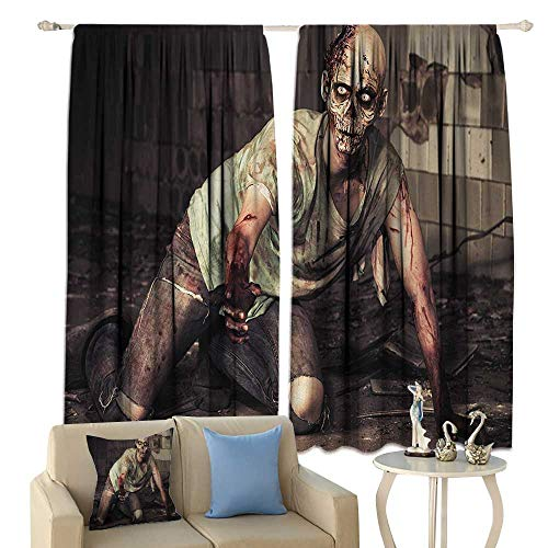 HoBeauty Zombie, Waterproof Window Curtain, Halloween Scary Dead Man in The Old Building with Bloody Head Nightmare Theme, Decorative Curtains for Living Room,(W63 x L72 Inch, Grey Mint Peach