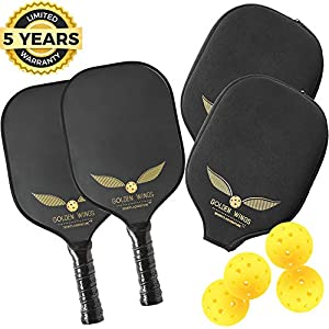 Pickleball Paddle Set Of 2 – Graphite Pickleball Racket + 4 Pickle Balls – Composite Fiberglass Pickleball Paddles Bundle Honeycomb Core Pickle Ball Racket – Best Pickleball Racquet Game Sets + Cover