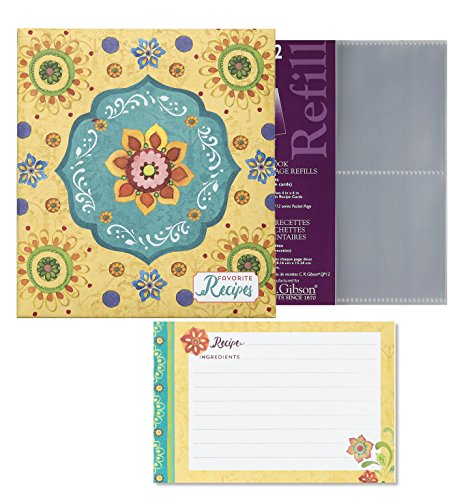 C.R. Gibsons Tunisian Sunset Recipe Binder Bundle with Bonus Refill Sheets & Recipe Cards by C.R. Gibson