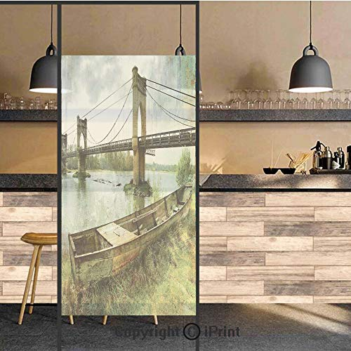 3D Decorative Privacy Window Films,Bridge and Old Boat on Riverside Distressed Paint Style Nostalgic City Picture,No-Glue Self Static Cling Glass film for Home Bedroom Bathroom Kitchen Office 24x48 In ()