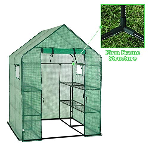 Portable Gardening Steeple Green House with PE Cover, 3 Tier 12 Shelf Waterproof Walk in Plant Green House,56'' L x 56'' W x 77'' H by SCYL (Image #2)