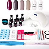 Gellen Gel Nail Polish Starter Kit with 24W LED Lamp Base Coat Top Coat, Elegance 4 Colors - Manicure Pedicure Tools French Rhinestones Styles Stickers Nail Art Designs