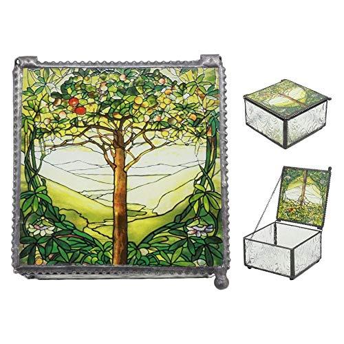 inilobox Louis Comfort Tiffany Northrop Memorial Window Tree of Life Stained Glass Jewelry Box -