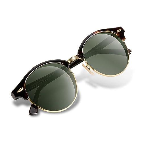 Wenlenie Occhiali da sole w4246 rotondi vintage unisex con lente di cristallo protezione UV