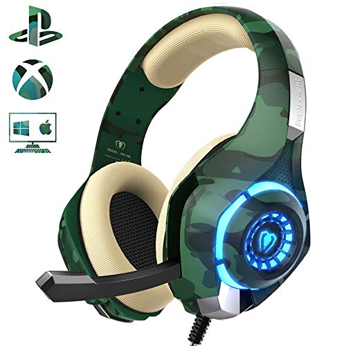 Gaming Headset for PS4 Xbox one PC, Beexcellent Stereo Sound Over Ear Headphones with Noise Isolation Mic Volume Control and LED Light for Laptop Mac iPad Smartphone (Best Way To Make A Headache Go Away)