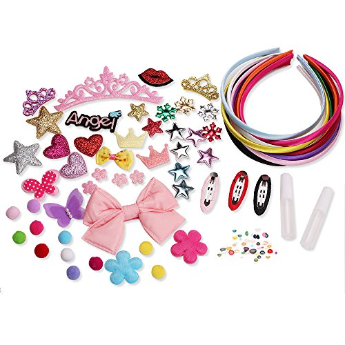 70's Hair Kit (MINI-FACTORY 70+ Pcs DIY Crafting Headband Making Kit for Girls, Assorted Color Headbands + Cute Decoration Parts, Hair Accessories)