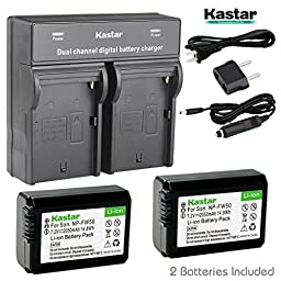 Kastar Dual Smart Fast Charger & 2 x Battery for Sony NP-FW50, Alpha 7, a7, 7R, a7R, Alpha a3000, a5000, a6000, NEX-3, NEX-5, NEX-6, NEX-7, NEX-C3, NEX-F3, SLT-A33, SLT-A35, SLT-A37, SLT-A55, DSC-RX10