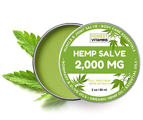 Hemp Oil Salve for Pain Relief - 2000 MG - Max Strength. 100% Natural Ointment. Perfect for Knee, Joint, and Back Pain. 1-Year Guarantee. Made with Organic Ingredients. (2oz)